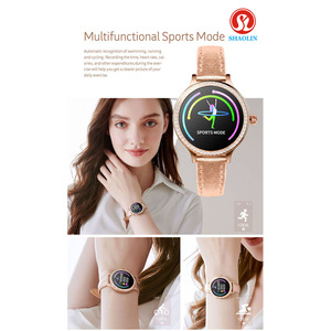 Image 5 - ใหม่ล่าสุดแฟชั่นผู้หญิงสมาร์ทนาฬิกาหน้าจอสีIP68กันน้ำหญิงสรีรวิทยาเตือนสำหรับApple IOS Bluetooth PK S9