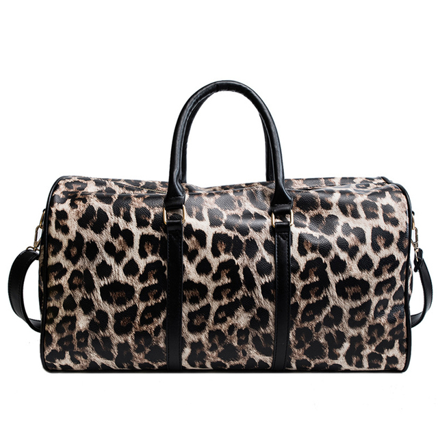 Outdoor PU Leather Sports Gym Bag Women Men Training Fitness Crossbody Shoulder Bag Leopard Print Travel Yoga Handbag