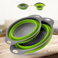 Foldable Colander Strainer Kitchen Silicone Collapsible Storage Fruit Vegetable-Washing