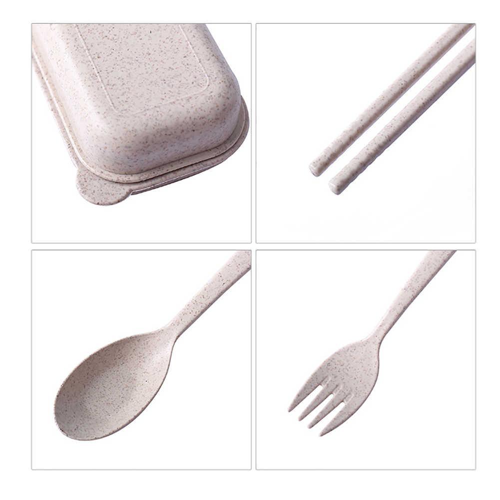 2019 جديد وصول 3 قطعة المحمولة قابلة لإعادة الاستخدام مطبخ ملاعق قش القمح عيدان ملعقة شوكة أواني الطعام أدوات المائدة مجموعة أدوات المائدة