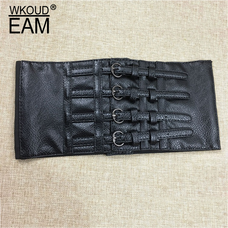 WKOUD EAM 2020 New Fashion Trendy Waist Seal For Women Solid Four-breasted Imitation Leather Wid Belt Female High Street A128