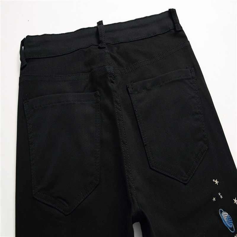 2020 nowe markowe męskie szczupłe spodnie dżinsowe modny haft drukowanie dżinsy spodnie męskie czarne dorywczo elastyczne spodnie ołówkowe Plus rozmiar