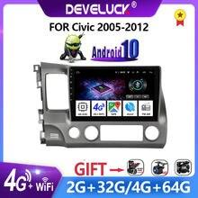 2 din android 10 6g + 128g rádio do carro multimídia navegação player de vídeo gps para honda civic 2005-2012 2.5d tela 2din dsp estéreo
