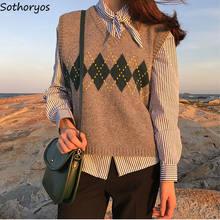 Argyle-suéter de punto sencillo para mujer, chaleco elegante de estilo pijo Coreano, cuello en V, combina con todo, nuevo y elegante, suéteres sin mangas delgados para adolescentes