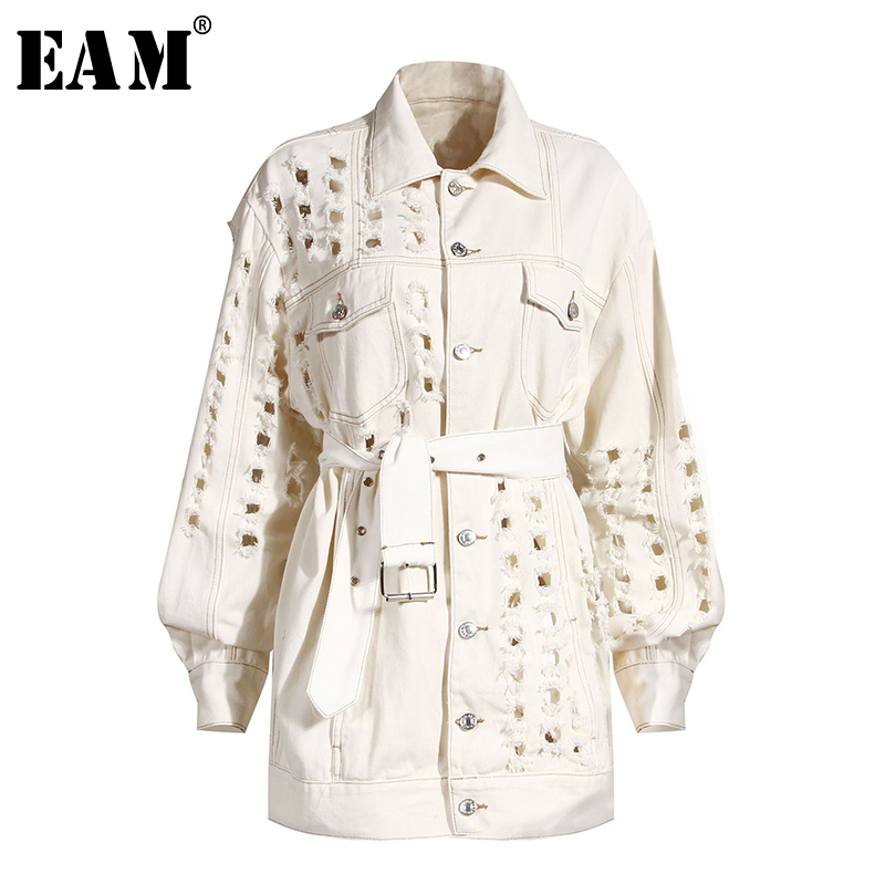[EAM] Loose Fit Beige Holes Bandage Big Size Denim Jacket New Lapel Long Sleeve Women Coat Fashion Tide Spring Autumn 2020 1Y917 1