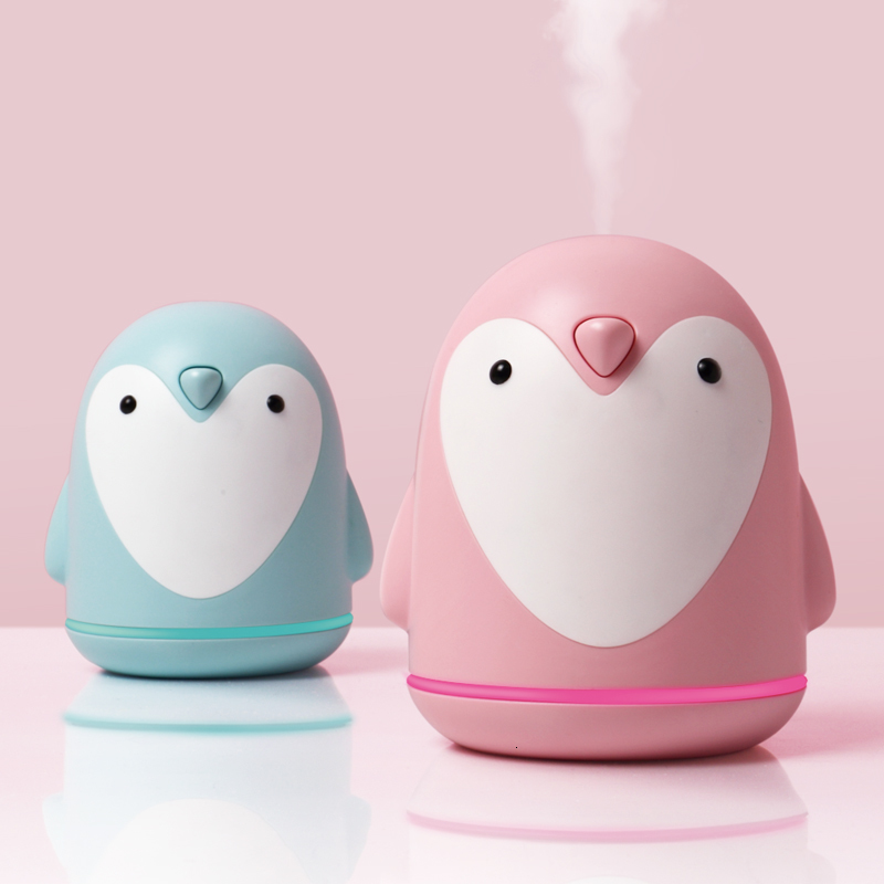 Ultrasonic Air Humidifier USB Aroma Diffuser Penguin 3 In 1 Colorful Night Light Electric Essential Car Air Purifier Mist Maker