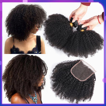 בלינג שיער ברזילאי שיער אפרו קינקי קרלי חבילות עם סגירת 100% רמי שיער טבעי חבילות עם 4*4 סגירת תחרה טבעי צבע