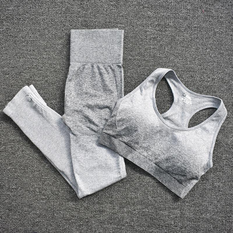 BraPantsGray - Women's Sportwear Seamless Fitness Gradient Yoga Set