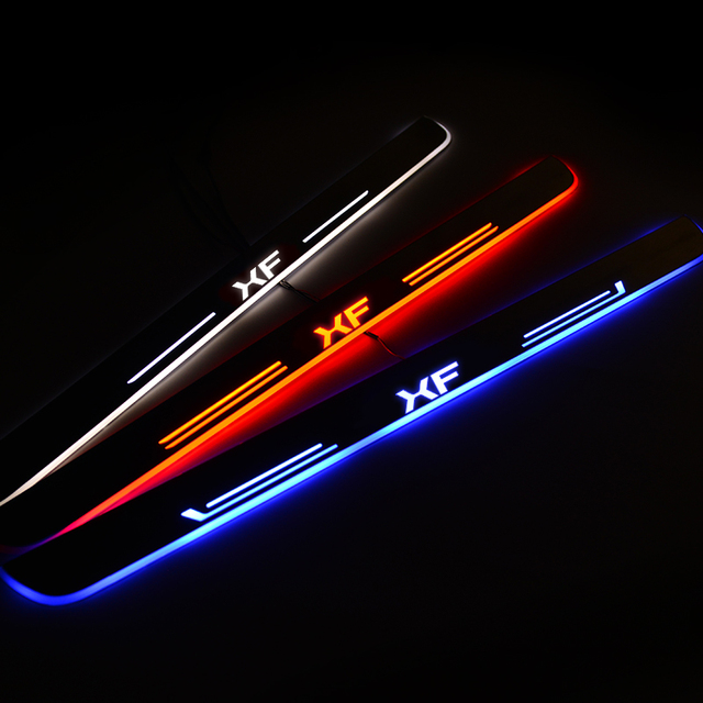 LED Door Sill For Jaguar XF 2015 2016 2017 2018 Door Scuff Plate Pathway Welcome Light Car Accessories