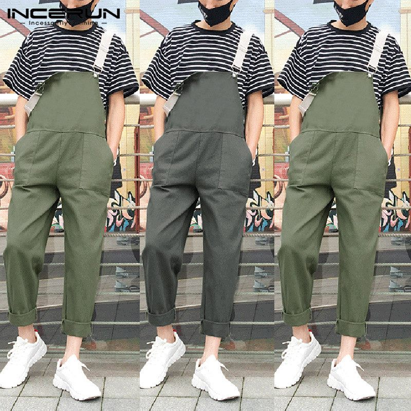 INCERUN Streetwear Stylish Men Jumpsuit Pants Baggy Cotton Hip-hop Straps Pockets Suspenders Solid Overalls Men Rompers 2019 5XL