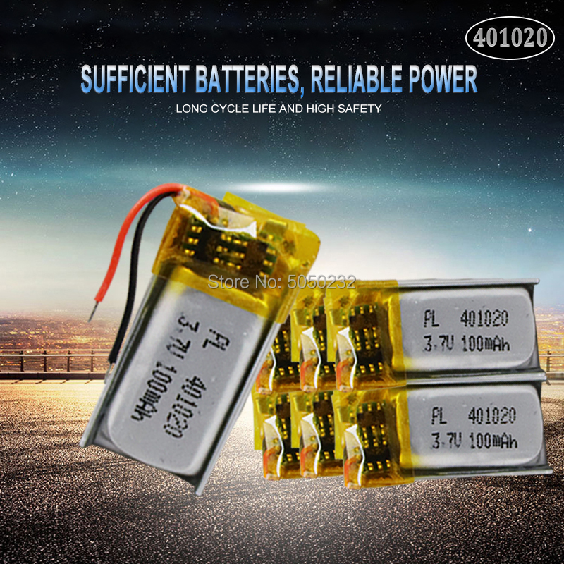 10pc <font><b>50mah</b></font> <font><b>3.7v</b></font> 401020 Li-lon polymer Rechargeable <font><b>Battery</b></font> For Toys Cars Bluetooth speaker Bluetooth headset digital products image