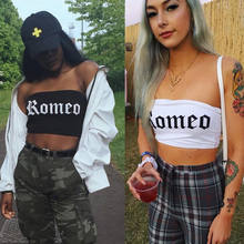 Fashion Casual Summer Newly Women Ladies Sleeveless Pullover Letter Print Solid Tube Tops 2 Style Short Length Size S/M/L(China)