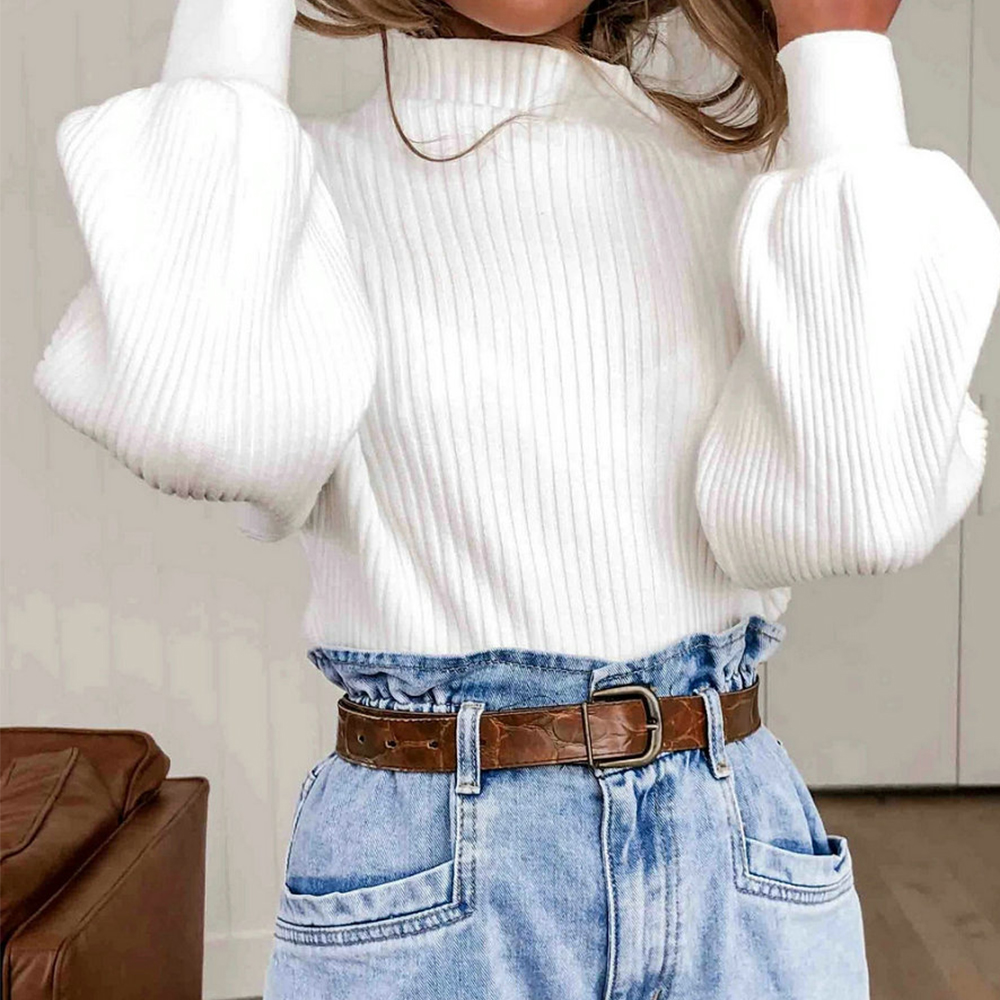 Turtleneck Women Pullover Sweater Autumn Winter White Long Sleeve Sweater Female Pullover Knitted Lantern Sleeve Tops Sueter D35