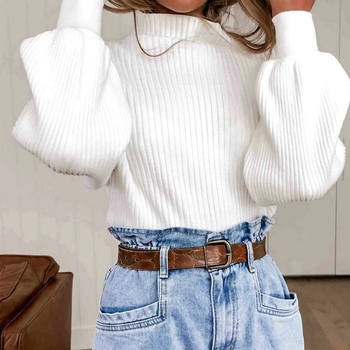 Turtleneck Women Pullover Sweater Autumn Winter White Long Sleeve Sweater Female Pullover Knitted Lantern Sleeve Tops sueter D35 2018 brand fashion autumn winter warm sweater long sleeve elastic sweater female pullover turtleneck knitted sweaters tops xnxee