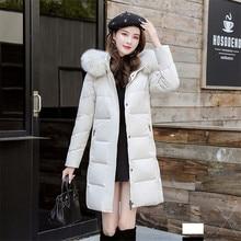 Новинка года; Зимний пуховик в Корейском стиле; длинное пальто из белого утиного пуха с соломенной шляпой и енотом; модное свободное теплое пальто Parker; ParkasYH572