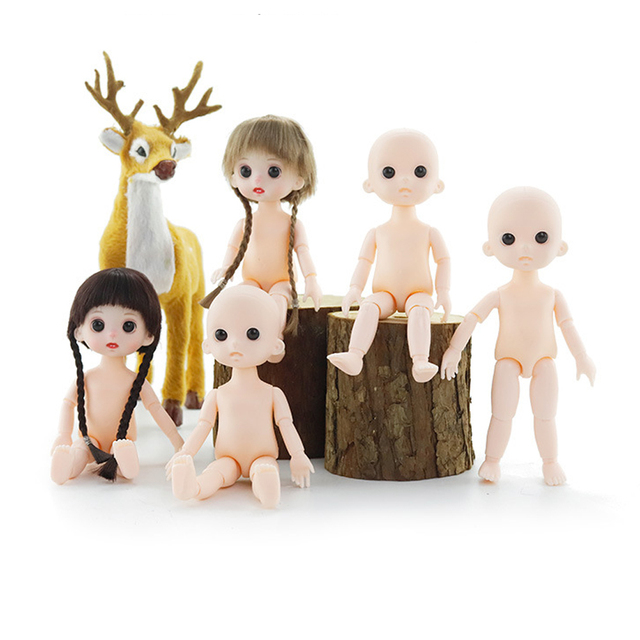 Mini Moveable Jointed Doll Toys 16cm 1/8 BJD Baby Doll Naked Doll's Practicing for Makeup Doll Head with Eyes Toys for Children 1