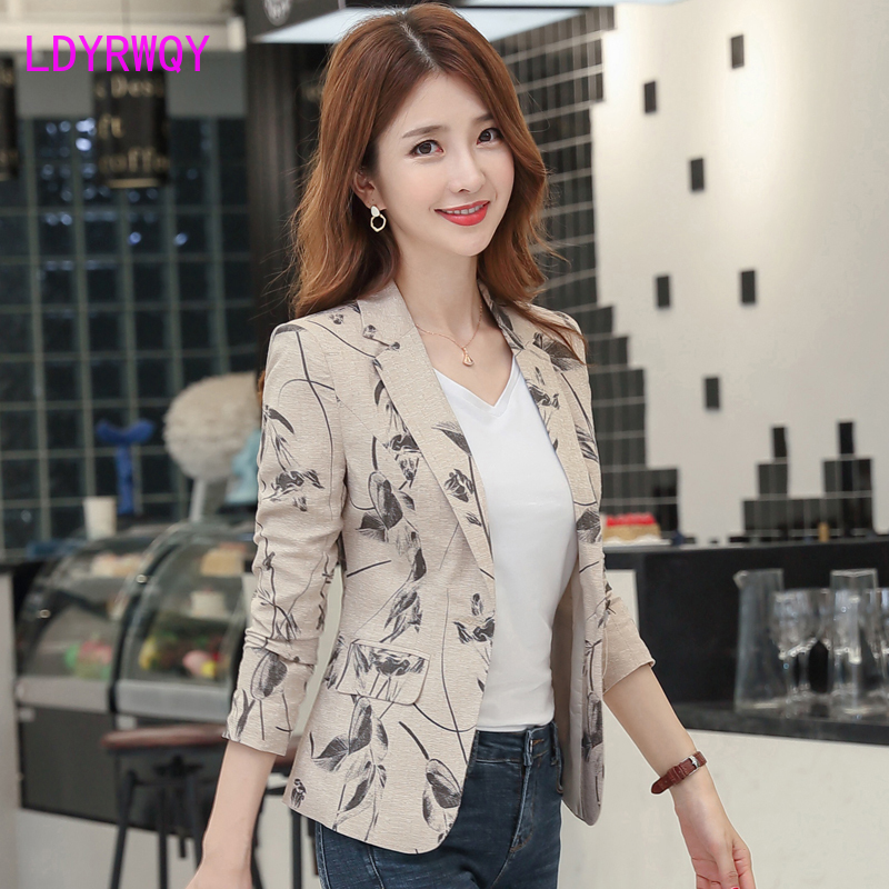 Small Suit Jacket Printing Self-Cultivation Retro Female Office Lady Single-Breasted title=