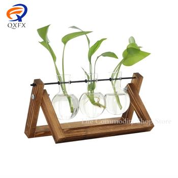 Roślin Terrarium z drewnianą stojak Air sadzarka szkło od żarówki wazon metalowy uchwyt obrotowy dla hydroponika dom ogród dekoracja biurowa tanie i dobre opinie CN (pochodzenie) Nowoczesne Blat wazon PH0036