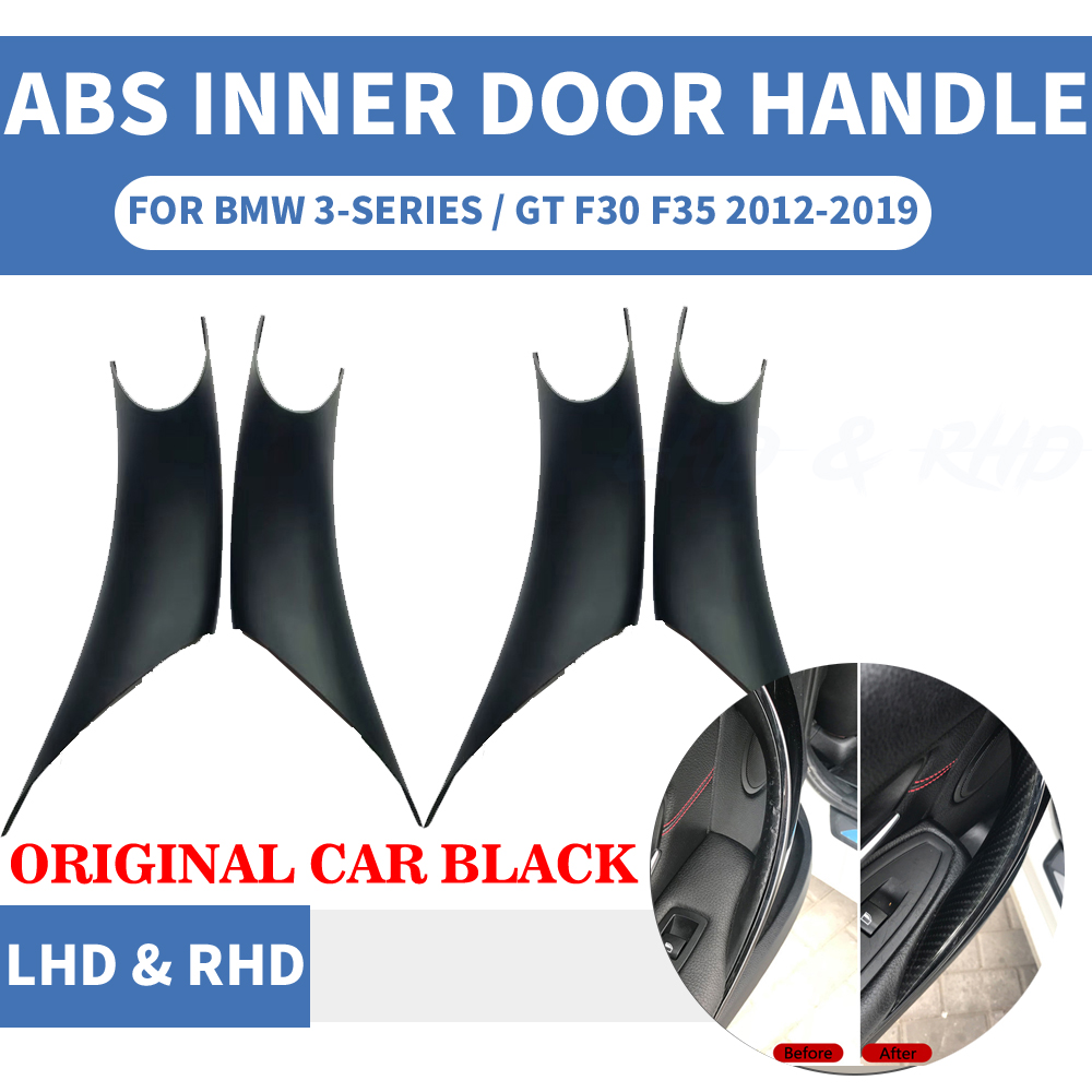 4PCS Car Styling Interior Door Panel Handle Inner Pull Protect Cover Trim Original Black For <font><b>BMW</b></font> <font><b>3</b></font>/GT 4 Series F30 F35 2013-19 image