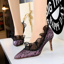 Bigtree Lace high heels 2019 New autumn Women Pumps High Pointed Fashion brand womens shoes zapatos de mujer fiesta