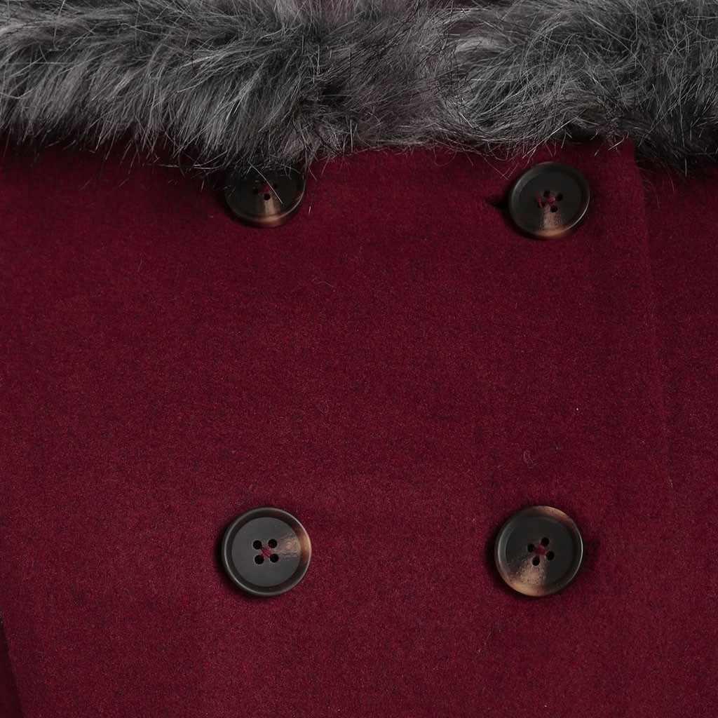 Chamsgend casaco feminino com capuz, jaqueta de inverno quente para mulheres, mistura de lã elegante, slim fit 4z 4z
