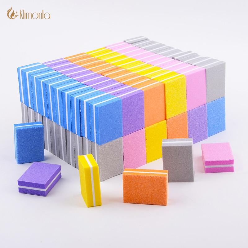 100pcs/lot Professional Nail File Mini Sponge Nail Sanding Blocks UV Gel Polish Cuticle Remover Manicure Tools Nail Buffer Files