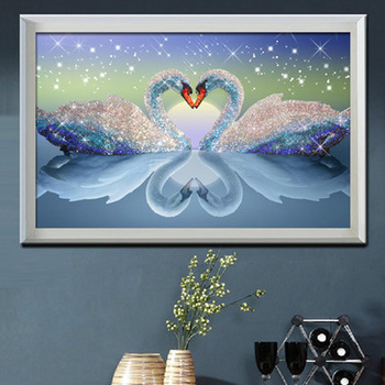 5D DIY Diamond Painting Swan Couples Crystal Drawing Needlework Gift Full Diamond Embroidery Cross stitch Home decoration M632 image