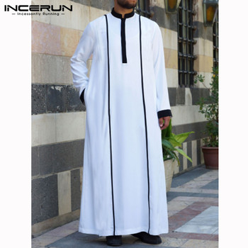 INCERUN Men Islamic Arabic Kaftan Muslim Clothing Long Sleeve Patchwork Abaya Robes Fashion Saudi Arabia Dubai Mens Jubba Thobe