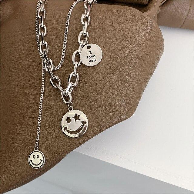 Xiyanike colar de prata esterlina 925 ins, colar feminino, vintage, feito à mão, sorridente, rosto, clavícula, corrente, joias de prata thai