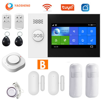 TUYA security alarm system for home Apps Control with smoke detector Door sensor smart House Wired wireless gsm alarm diysecur wireless and wired gsm automatic dialing alarm system m2bx pet friendly home security