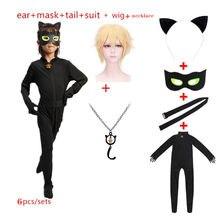 Costume cosplay chat noir pour enfant, Déguisement halloween ou noël pour garçon, combinaison magique, superhero Adrian Marinette