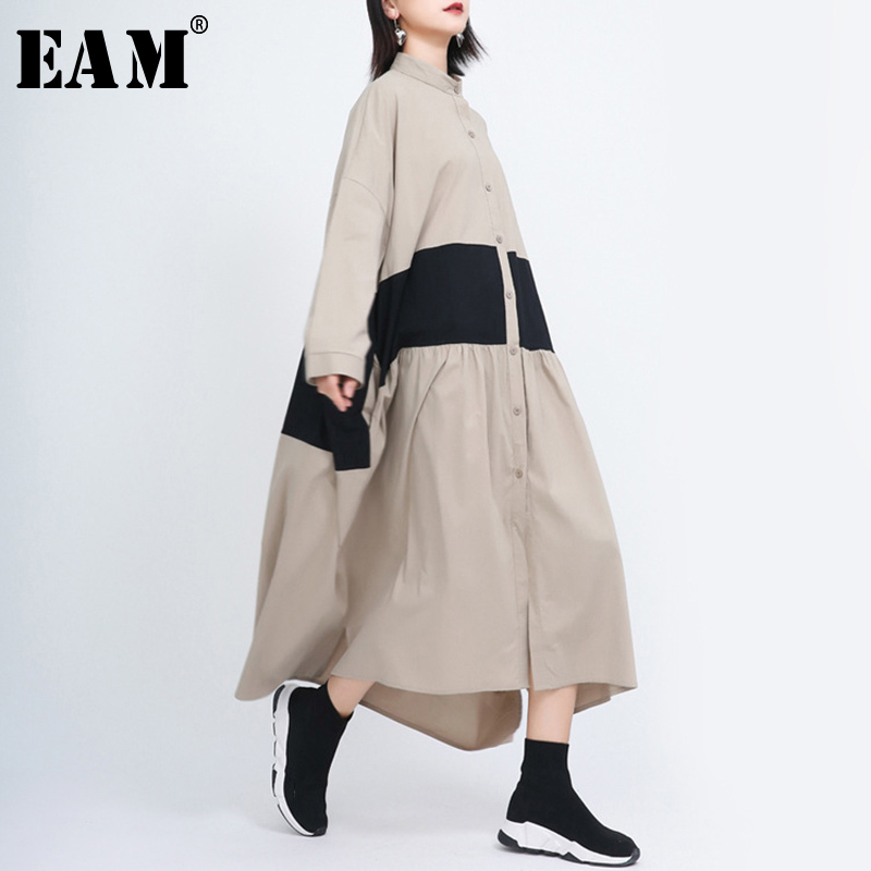 [EAM] Women Conrtast Color Split Big Size Shirt Dress New Stand Collar Long Sleeve Loose Fit Fashion Spring Autumn 2020 1S269