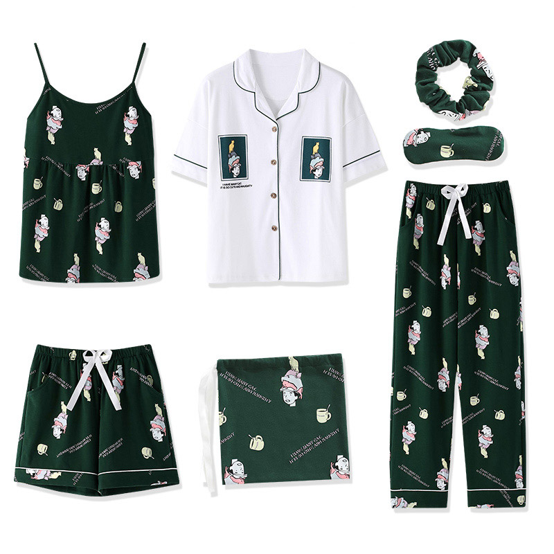 Pajama Sets Cotton Pajamas For Women 7 Pieces Set Casual Sleepwear Sexy Woman  Home Clothes Female Shorts Pants Nightie Homewear