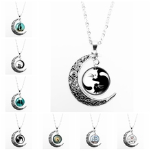 2019 Hot Sale Cute Black and White Cat Pattern Series Glass Cabochon Pendant Moon Necklace Girl Jewelry Gift