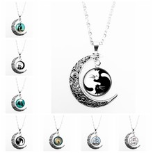 2019 Hot Sale Cute Black and White Cat Pattern Series Glass Cabochon Pendant Moon Necklace Girl Jewelry Gift(China)