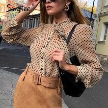 Simplee Vintage Polka Dot Lange Mouwen Vrouwen Blouse Shirt Casul Lente Hals Tie Blouse Elegante Werkkleding Losse Vrouwelijke Kantoor top