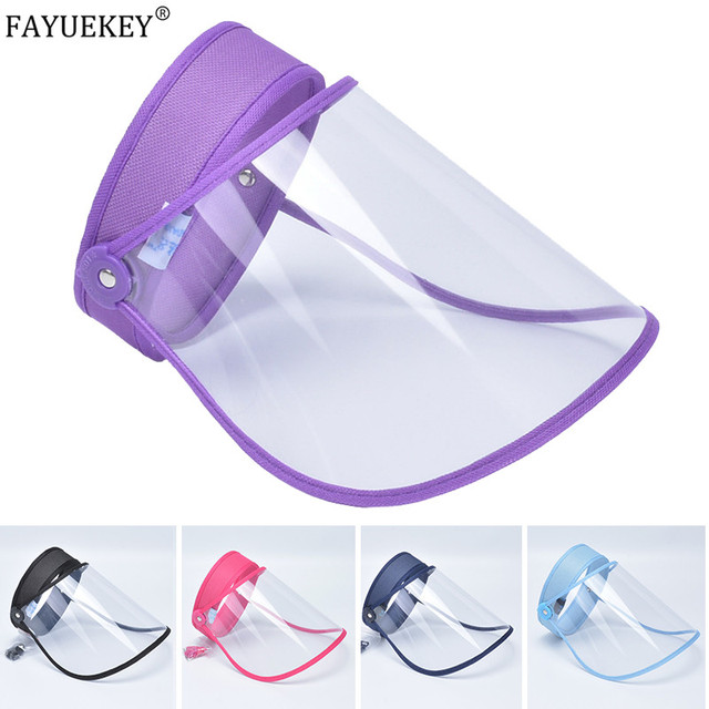 Transparent Protective Hat Visor Cap Flip Up Rotatable Adjustable Anti-Droplet Saliva Protective Face Mask UV Shield sun hat