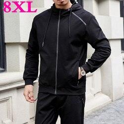 New big plus size 8XL  7XL Men's Set Spring Autumn  Man Sportswear 2 Piece Sets Sports Suit Jacket+Pant Sweatsuit Male Tracksuit
