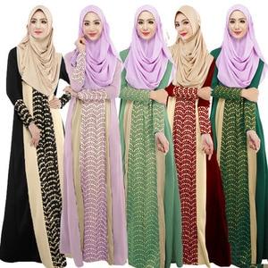 Islamic Clothing Muslim Hijab Dress Women Patchwork Big Swing Long Dresses Long Sleeve Maxi Caftan Robes Kaftan Islamic Clothes