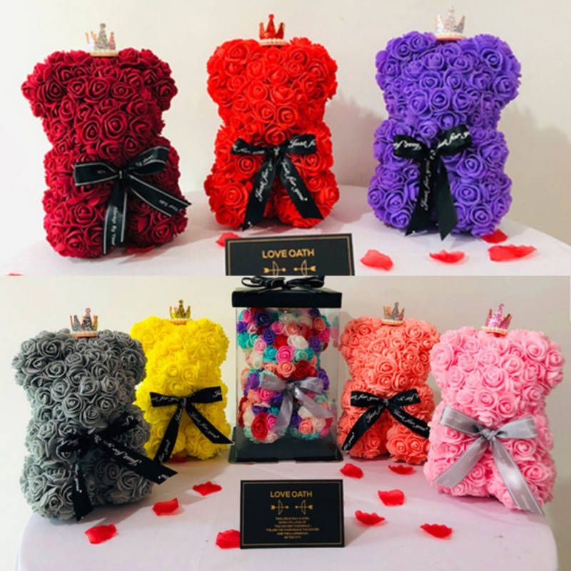 Rose Teddy Bear Multicolor Plastic Foam Artificial Flowers Rose Teddy Bear Girlfriend Valentines Day Gift Birthday Party Decor