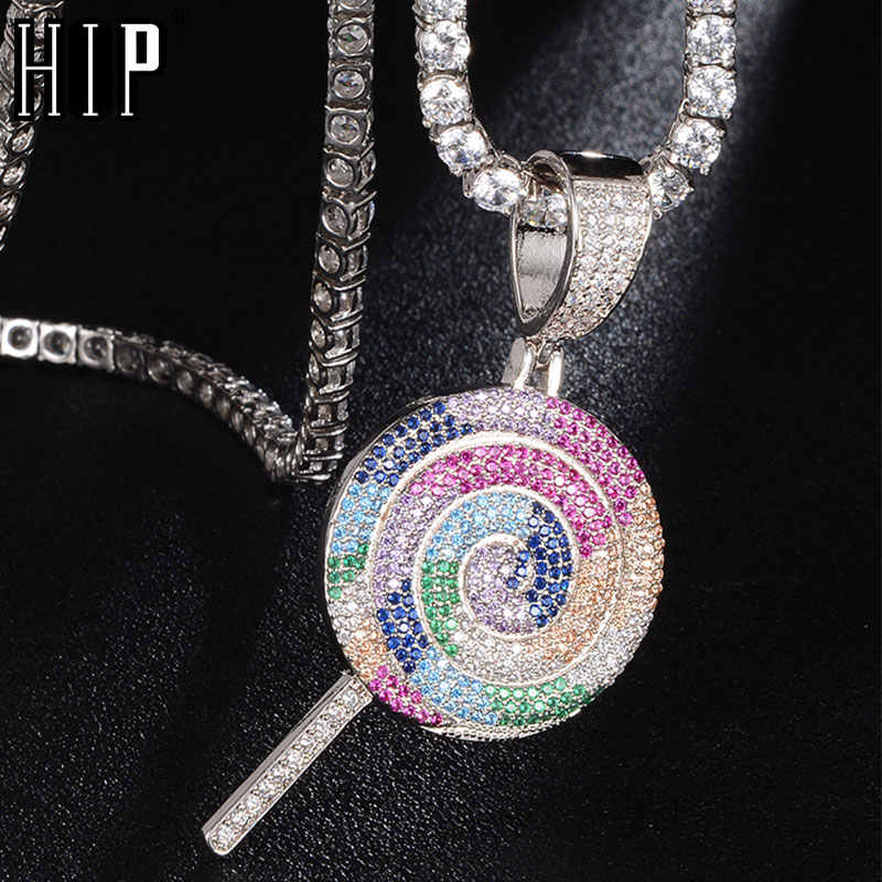 Hip Hop Bling Multicolor Lollipop Iced Out Bling Kubieke Zirkoon Ketting & Hanger Voor Mannen Sieraden Charm Tennis Chain