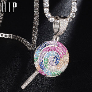 Hip Hop Bling Multicolor Lollipop Iced Out Bling Cubic Zircon Necklace & Pendant For Men Jewelry Charm Tennis Chain