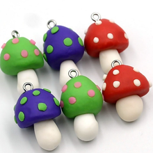 17*30mm Colorful Big Pendant Clay Dimensional Mushroom Pendant for Women Diy Making Necklace Keychain Jewelry Accessories