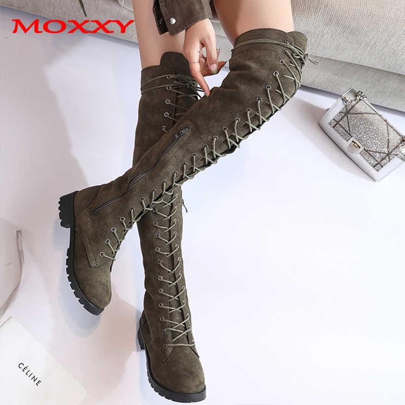 2019 yeni seksi bayanlar diz çizmeler üzerinde Lace Up artı boyutu 43 platformu uzun çizmeler kadın ayakkabıları uyluk yüksek çizmeler zapatos de mujer