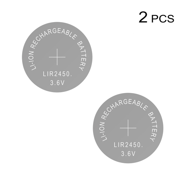 Li ion Rechargeable Battery LIR2450 3.6V 2 PCS Lithium Button Cells Coin Cell Watch Batteries LIR 2450 Replaces CR2450