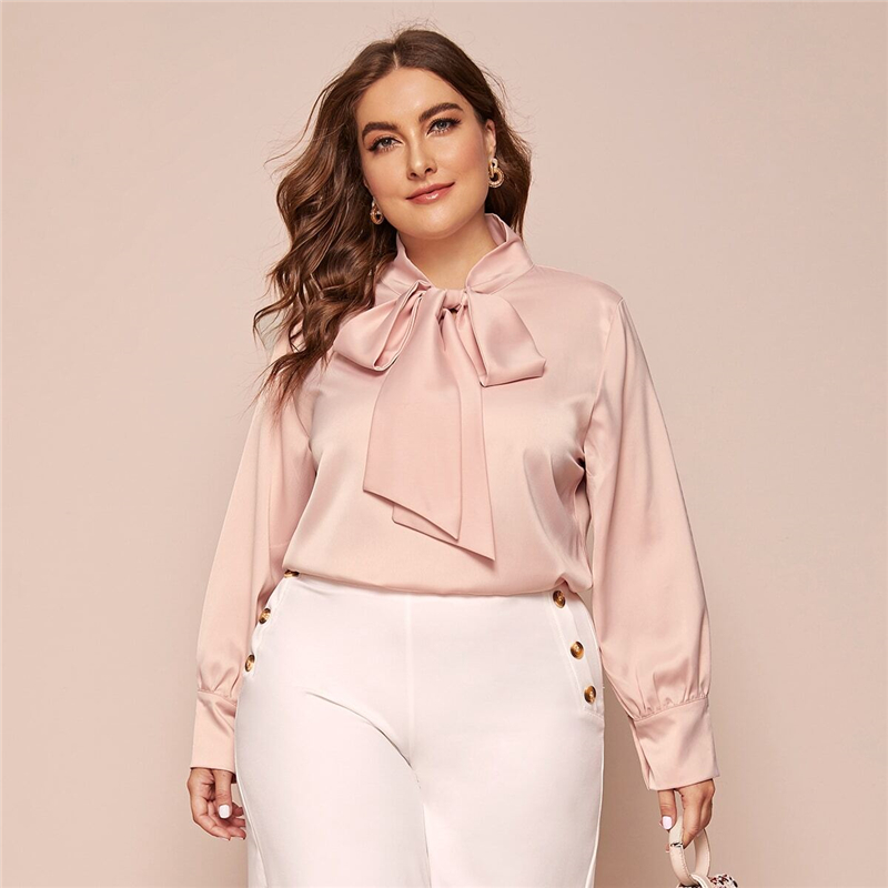 Plus Size Pink Bow Tie Neck Solid Blouse