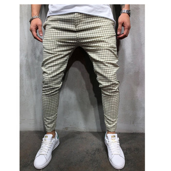 Fashion Men's Plaid Side Stripe Jogging Casual Pants Fitness Sports Straight Pants Three Styles Young Men's Streetwear contrast tape side plaid pants