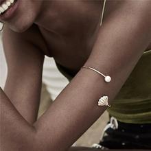 Ingemark Retro Imitation Pearls Upper Arm Cuff Bangle Love Shell Bracelet Arm Accessories Bohemian Open Bangle Armlet for Women gold silver cuff upper arm bracelet bangle for women