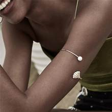 Ingemark Retro Imitation Pearls Upper Arm Cuff Bangle Love Shell Bracelet Arm Accessories Bohemian Open Bangle Armlet for Women(China)