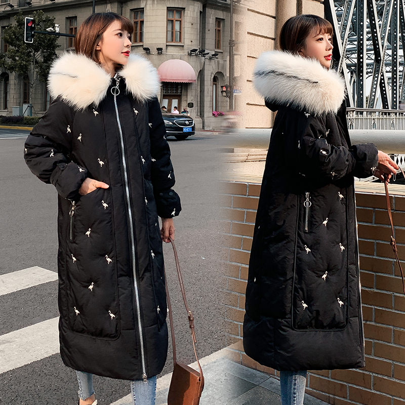 Fashion Embroidery Long Coat Winter Women Cotton Padded Jacket New Thick Loose Abrigos mujer Pockets Spliced Slim Overcoat f1592